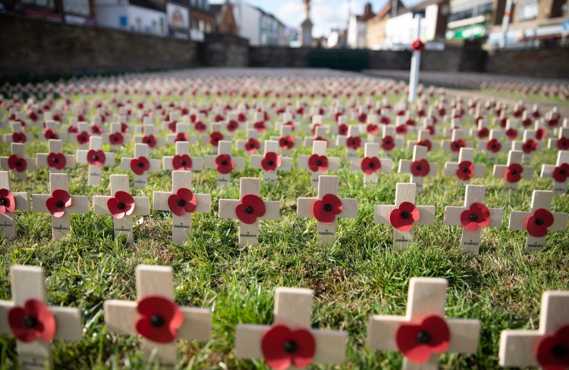 Poppy crosses on Abington Square