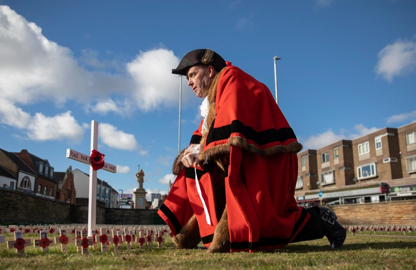 Northampton Mayor with Poppy Crosses