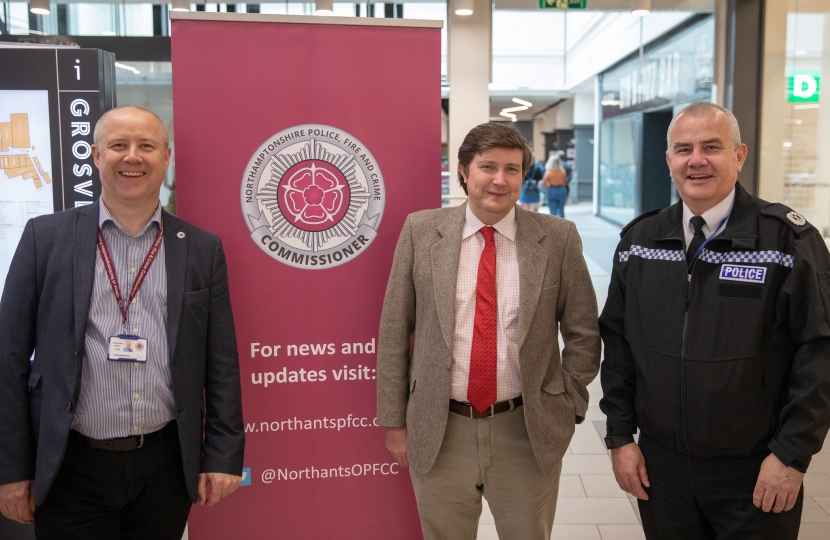 Police Commisioner Stephen Mold, Andrew Lewer MP and Deputy POlice Constable Simon Blatchley